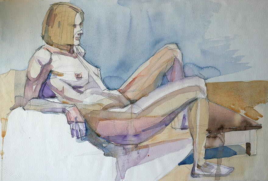 Akvarel af en ung kvinde.