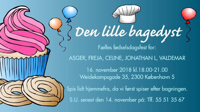 Den lille bagedyst: Invitation til børnefødselsdag.