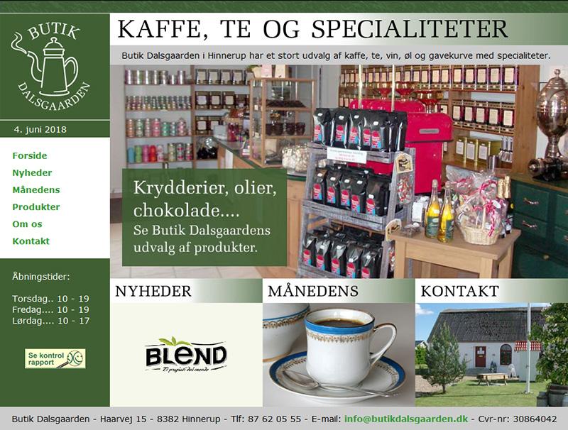 Butik Dalsgaarden: Hjemmeside til delikatesse butik.
