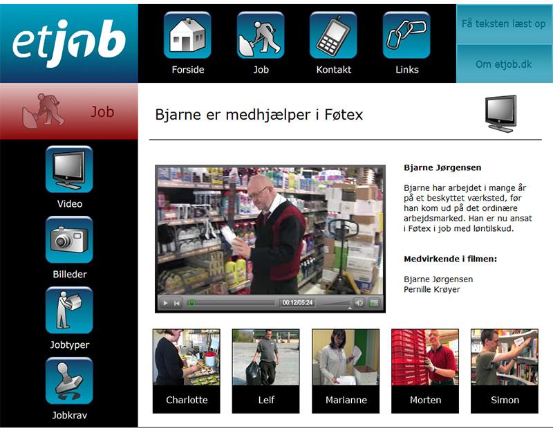 Et Job: Hjemmeside til Et Job med video indhold.
