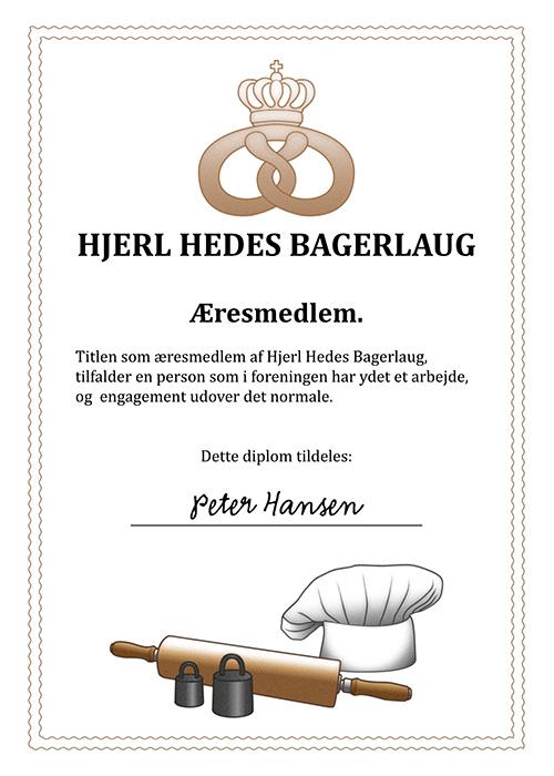 Hjerl Hedes Bagerlaug: Æresdiplom til medlemmer.