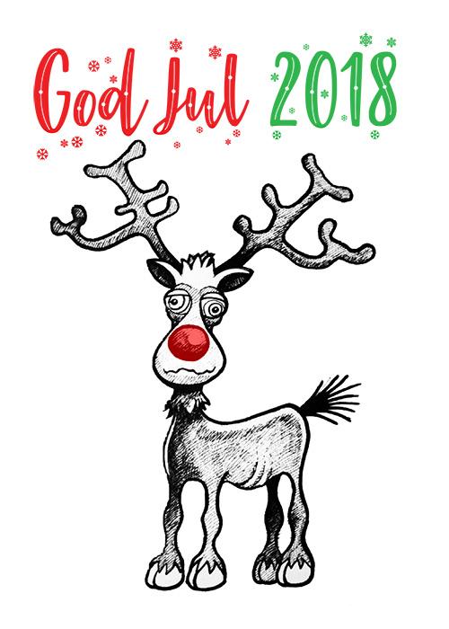 Rudolf: Julekort lavet i 2018.