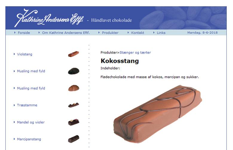 Hjemmeside til Kathrine Andersens Eft. som producerer håndlavet chokolade.