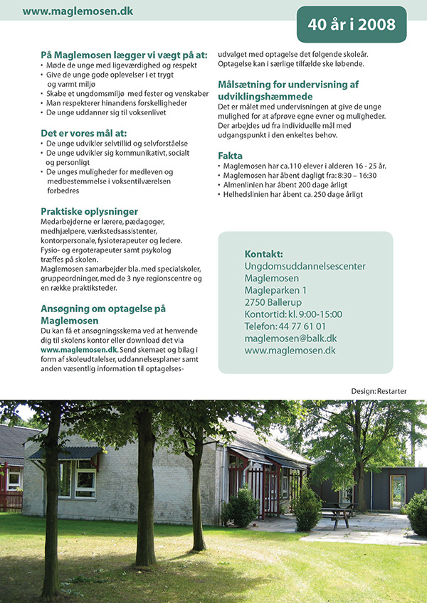 Brochure for Ungdomsuddannelsescenter Maglemosen.