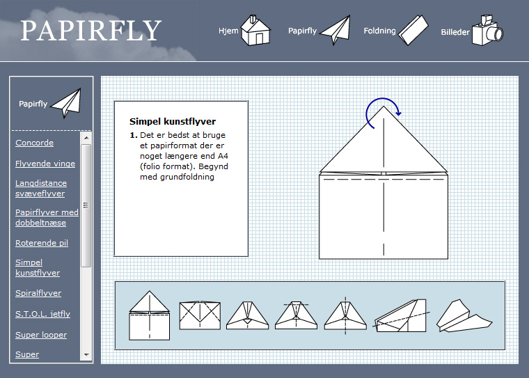 Papirfly: Hjemmeside om at folde papirfly.